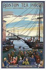 Boston Tea Party, Massachusetts, Ships in Harbor, Dec. 16 1773 - Modern Postcard
