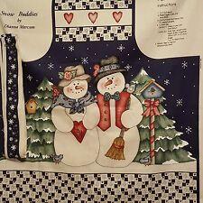 Snow Buddies Snowman Holiday Bib Apron fabric Panel Dianna Marcum Canvas Winter