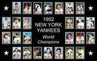 1952 NEW YORK YANKEES Custom Baseball Card POSTER Man Cave Decor Mickey Mantle