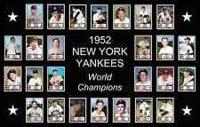 1952 New York Yankees World Series Baseball Card Poster Print Decor Art Gift