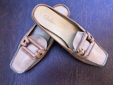 Size 7.5 Narrow COLE HAAN Tan Leather Slip On Shoes Loafers Mules Sq Toe Buckle