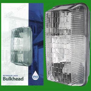 Outdoor Rectangular Black IP65 Bulkhead, Vandal Resistant, Security Wall Light