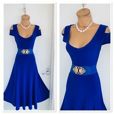 JOSEPH RIBKOFF Royal Blue Cold Shoulder Fit & Flare Jersey Dress Uk Size 12-14