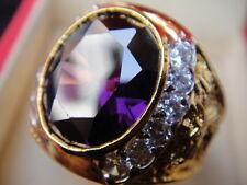 # 8.5 Man Gold 24K Ring Dragon Purple Sapphire CZ Gemstone Thailand Solitaire