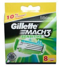 GILLETTE MACH3 MACH 3 SENSITIVE 8 Rasierklingen M3 Gilette 8 Stück in OVP