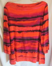 RUBY RD. - BOLD COLORFUL STRIPES PATTERN BOAT NECK PULLOVER TOP 2X NWOT