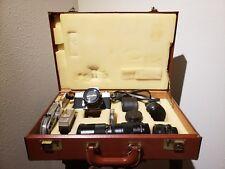 Minolta SR-T 102 35mm Film Camera w/Leather Hard Case, Lenses, & Acc Manuals