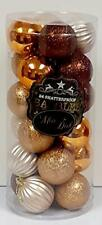 Christmas Tree Decorations - 24 Shatterproof Hanging Baubles - Copper