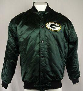 Green Bay Packers Men Large Snap-Up Reversible Wool Blend & Satin Jacket