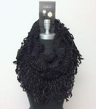 New Women's Cowl Single Loop Scarf Knit Crochet w/ shiny line Soft Wrap Black