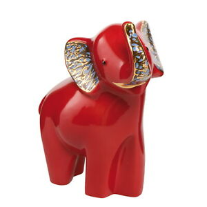 "Elephant De Luxe "" Sokotei "" - Goebel Porcelain 70000131 - Red Mit Real Gold"
