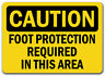 Caution Sign - Foot Protection Required In This Area - 10 x 14 OSHA Safety Sign