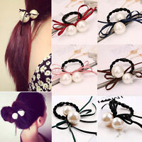 New Double Pearl Satin Ribbon Bow Hair Band Rope Ponytail Holder Elastic Stretch