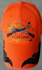 Blaze Orange Hunter Hunting Cap Hat With Embroidered Camo Flames & Guns & Target