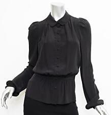BALENCIAGA Womens Black Puff Long Sleeve Button Down Blouse Shirt Top 40