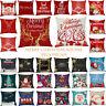 42 Patterns Merry Christmas Square Pillowcase Linen Sofa Cushion Cover Decor UK