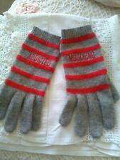 Fabulous Moschino Lambswool Nylon Angora Grey Red Striped Gloves