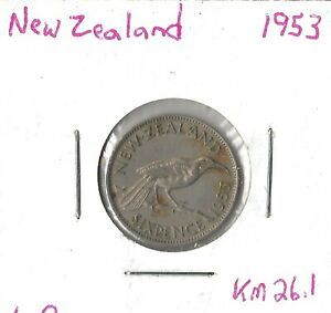 Coin New Zealand 6 Pence 1953 KM26.1, combined shipping