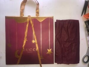 Authentic Gucci Beauty Shopping Bag 11x11x5 Gold & Wine Color PRISTINE + Tissue