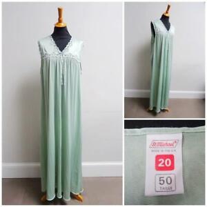 Vintage 1980s Nightgown Nightdress St Michael Pale Green Nylon Ladies Size 20