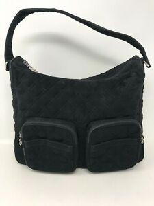 Vera Bradley Black Quilted Floral Lined 2 Zip Pocket Shoulder Bag Mini Tote