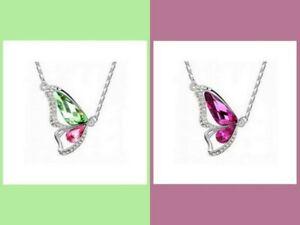 Kette mit Anhänger Schmetterling Kristall farbig silber  #Schm4