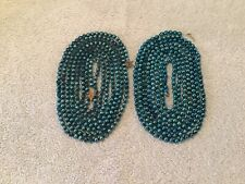 "VTG MERCURY GLASS BEAD GARLAND (2) STRAND 214"" TEAL 1/4"" CHRISTMAS FEATHER TREE"