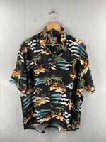 Kahala Men's Vintage Short Sleeve Hawaiian Shirt Size XL Black