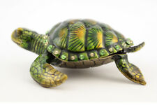 Green Turtle Fish Jewelry Trinket Box Decorative Collectible Sea Gift 02001