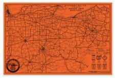 "Refiners Oil Company USA Road MAP of Indiana Ohio Kentucky circa 1930 - 24""x36"""
