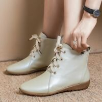 WOmen's PU Leather Lace Up ROund toe Flats Oxfords Comfortable Ankle Boots