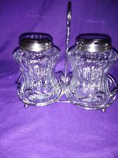 Vintage Shakers Glass Jars Metal Lid Sugar Dispenser pepper Restaurant Ware