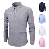 Mens Dress Shirts Casual Slim Fit Oxford Long Sleeves Business Camisas ZA6516