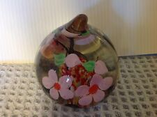 Beautiful Unique Clear Glass Round Paperweight, Flowers inside, droplet top