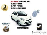POUR NISSAN MICRA K13 1.2 10-> AIR HUILE FILTRE POLLEN CABINE KIT ORIGINE