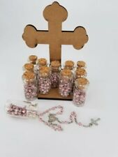 12x ROSARY BOTTLE PINK SLIVER BAPTISM COMMUNION RECUERDOS DE BAUTIZO QUINCEANERA