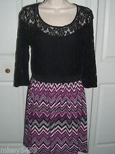 SPEECHLESS Juniors Black Floral Lace Top Soft  Zigzag Print Skirt Dress Size M
