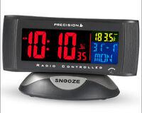 Precision Colour Display Radio Controlled Digital LCD Mains Alarm Clock PREC0019