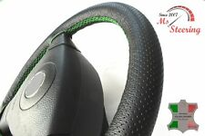 FOR PRAGA ND/SND -BLACK PERF LEATHER STEERING WHEEL COVER GREEN STITCH