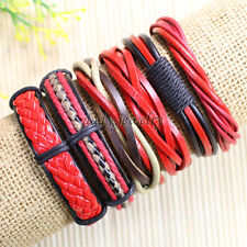 6pcs Womens Mens Wrap Multilayer Genuine Leather Rope Bracelet Chain Charms-D13