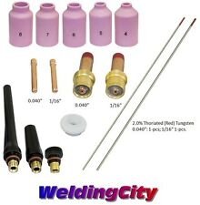 TIG Welding Torch 17/18/26 Kit .040-1/16 Gas Lens Tungsten (Red) T52A US Seller