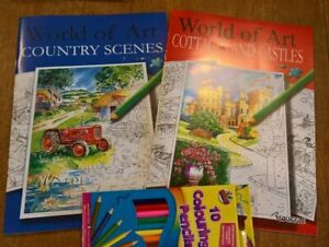 Set of 2 A4 world of art adult colouring books plus 10 colouring pencils