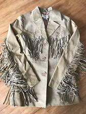 Scully Women's Fringed Suede Western Leather Jacket Tan Sz Small