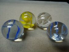 4 Vintage Vitro Agate Cage Style Cateye Shooter Marbles    7/8   Mint +
