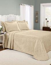 Bedspread Sham Set Queen Renaissance Home Claire Matelasse 3 Pc. Linen Color NEW