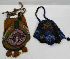 2 ANTIQUE VICTORIAN Art Deco MICRO BEADED PURSES Intricate Incredible Art Skill