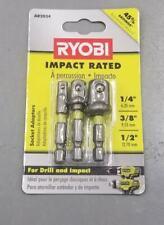 "Ryobi Socket Adapter Set Impact Rated Hex 1/4"" 3/8"" 1/2"" NEW"