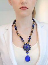 Vintage COBALT GLASS Necklace Brass Filigree Raised Domed Sapphire Cabochons