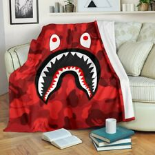 Red Shark Cool Camo Bape Premium Blanket Bedding