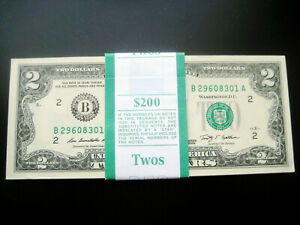 (100) $2 2009(((NEW YORK))) FEDERAL RESERVE CHOICE UNC GEM BU NOTE